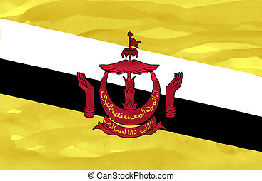 Painted flag of Brunei