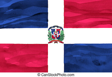 Painted flag of Dominican Republic