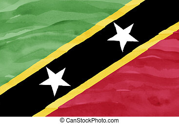 Painted flag of St Kitts and Nevis