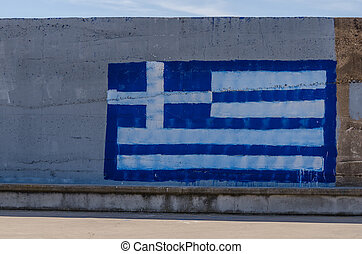 painted flag on a wall