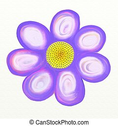 painted flower - painted purple daisy isolated on white...