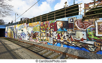 Painted graffiti on a building wall in Brussels, Belgium