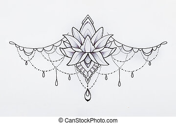 Painted graphic pendant on white background. - Painted...