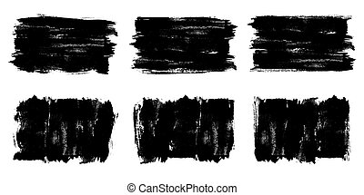 Painted grunge banner set. Black labels, background, paint texture. Brush strokes vector.