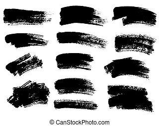 Painted grunge stripes set. Black labels, background, paint ...