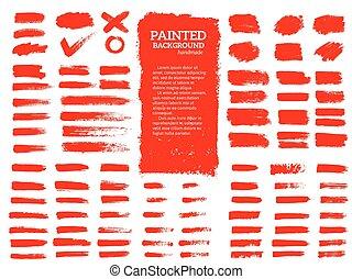 Painted grunge stripes set.