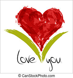 Red painted heart with inscription love you. EPS10