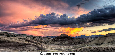 Painted Hills in Oregon Panorama at Sunset