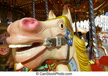 Painted Horse - Close up of a carrousel horse