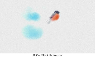 Painted In Watercolor Christmas Card With Bullfinch