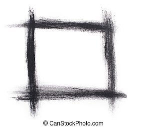 Painted in watercolor grunge black frame isolated on a white background