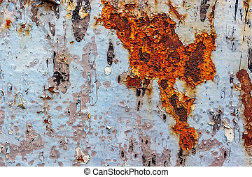 Painted iron surface with a large rusty spot and metal corrosion.