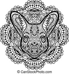 Painted kangaroo on a background of circular pattern. Coloring page