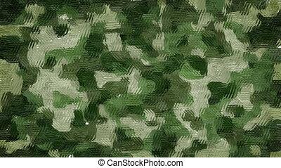 Painted khaki camouflage background - Animated wavy rough...