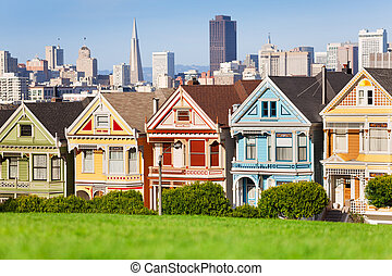 Painted ladies and San Francisco view on background