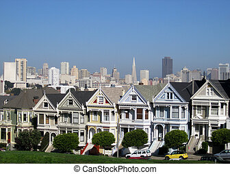 """Painted Ladies - The famous \""""Painted Ladies\"""" Victorian..."""