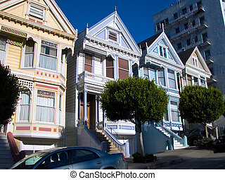 Painted Ladies - San Francisco\\\'s famous victorian homes.