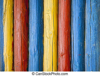 Painted log wall