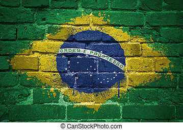 painted national flag of brazil on a brick wall