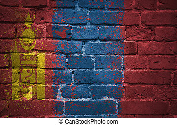 painted national flag of mongolia on a brick wall