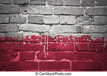 painted national flag of poland on a brick wall
