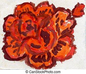 Painted Orange Rose - Grunge painted orange rose on paper...
