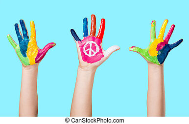 Painted peace sign.