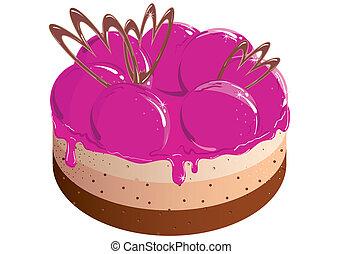 cake with berry jam