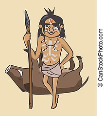 painted primitive man with spear cartoon