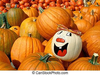 Painted pumpkin shining out of a heap