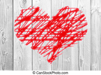 Painted red heart on white wooden background