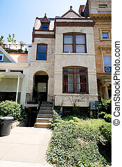 Painted Richardsonian Romanesque Row House DC US