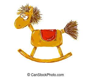 painted rocking horse on white background - illustration