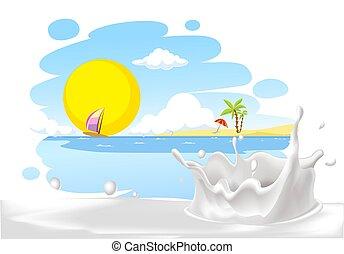 painted summer beach landscape with milk splash design -...