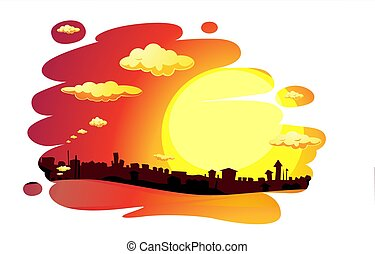 painted sunset city  landscape - vector illustration
