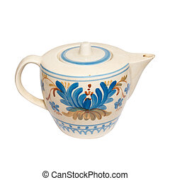 Painted teapot isolated on white.