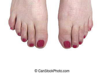 Painted Toes - Bright red polished toenails on a white...