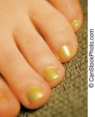 Painted toes - Closeup image of healthy young painted toes.