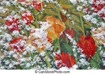 Painted Tulips Under Snow