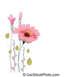 Painted watercolor card with poppy