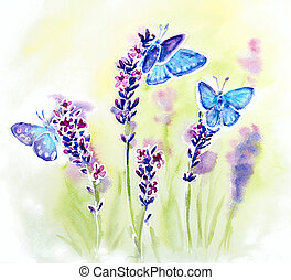 Painted watercolor card with summer lavender flowers and...
