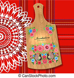 Painted wooden board on the tablecloth