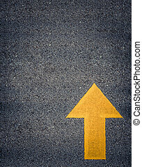 Painted Yellow Road Arrow