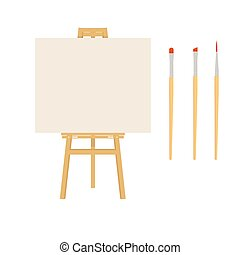 Painter art tools. Paint arts tool kit vector illustration. Painting design artists supplies, easel and brush. Draw materials