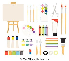 Painter art tools. Paint arts tool kit vector illustration. Watercolor painting design artists supplies, easel and palette, painting brush and draw materials