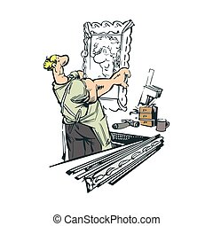 painter artist cartoon illustration vector