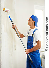 painter at home renovation work with prime - painter with ...