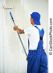 painter at home renovation work with prime - One painter...