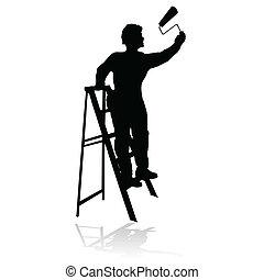 painter black silhouette - painter black silhouette