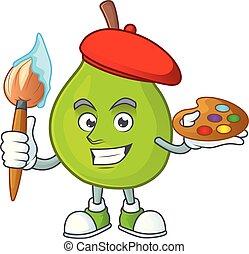 Painter cartoon guava mascot on white background